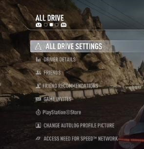RT BUMPER to ALL DRIVE Menu