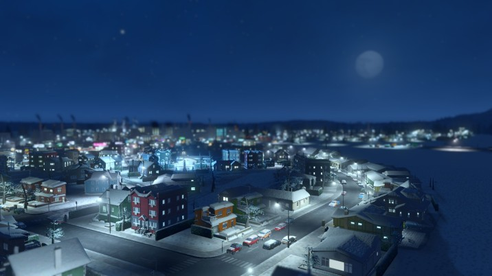City in the snow at night