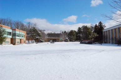 UNCA campus covered in snow